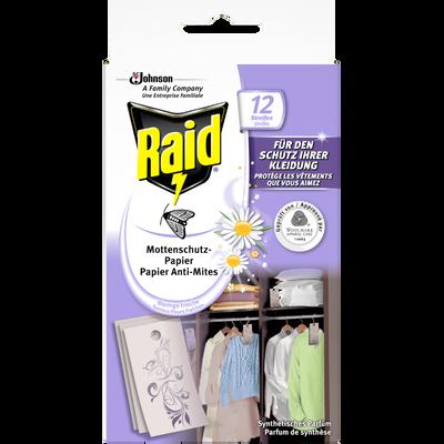 Papiers anti-mites RAID, 12 feuillets