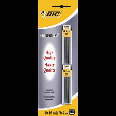 Mines HB 0,7mm pour Critérium BIC, 2 étuis de 12 mines