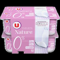 Yaourt nature U, 0%MG, 12x125g
