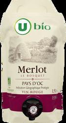 Vin rouge Pays d'Oc Merlot IGP Le Bosquet  Bio U , 1,5L
