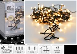 Guirlande 80 leds blanc chaud-partie lumineuse 8m-led 5mm-fil vert-filconducteur 5m-distance entre led 10cm-boitier 8 fonctions avec mémoire-adapt.IP44-usage intérieur/extérieur