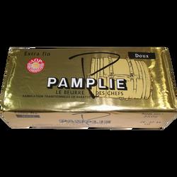 Beurre de baratte pasteurisé AOP doux, 82% de mg, PAMPLIE, plaquette de 250g