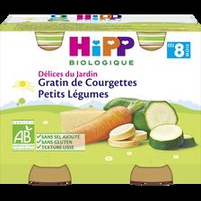 Petit pot bio pour bébé gratin de courgettes et petits légumes HIPP, dès 8 mois, 2x190g