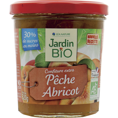 Confiture pèches / abricots en sucres bio JARDIN BIO 320g