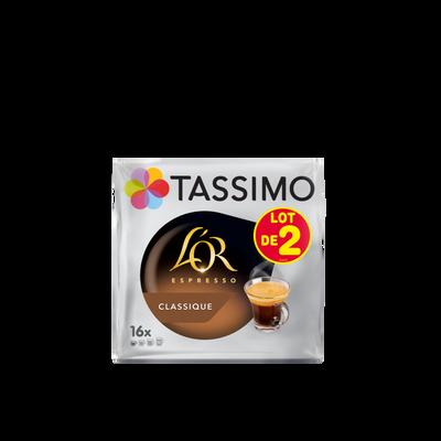 Espresso classique l'or TASSIMO, 2 paquets de 208g