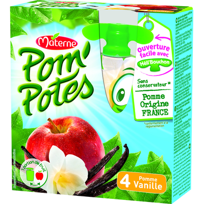 POM'POTES pomme vanille, 4 gourdes, 360g