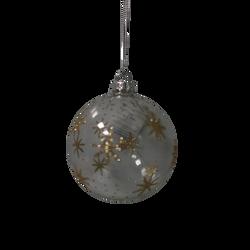 Boule suspension en verre 8cm transparent et or