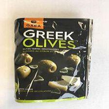 GAEA - GREEK OLIVES - OLIVES VERTES DENOYAUTES MARINEES AU CITRON ET L'ORIGAN