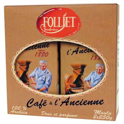 Café à l'ancienne moulu FOLLIET, lot de 2x250g