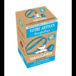 Capsules de café décaféiné compatibles nespresso LES CAFES GAILLARD, x10