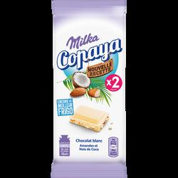 Chocolat blanc à l'amande et à la noix de coco copaya MILKA 2x90g