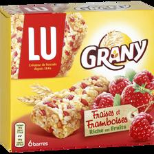 Barres de céréales aux fraises et framboises GRANY, x6, 108g