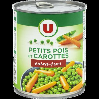 Petits pois extra-fins et carottes à l'étuvée U, boîte de 4/4, 530g