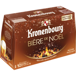 Biere blonde Noël KRONENBOURG, 5,5°, pack de 10x25cl