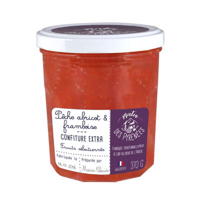 Confiture extra peche abricot framboise MATIN DES PYRENEES, 370g
