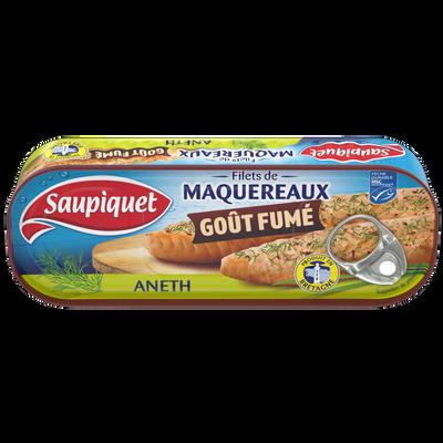 Filet de maquereaux goût fumé aneth SAUPIQUET, boîte 1/4, 120g