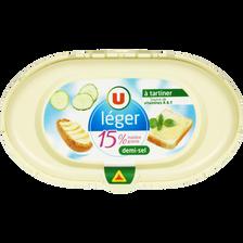 Matière grasse laitière légère 1/2 sel U 15%MG, barquette de 250g