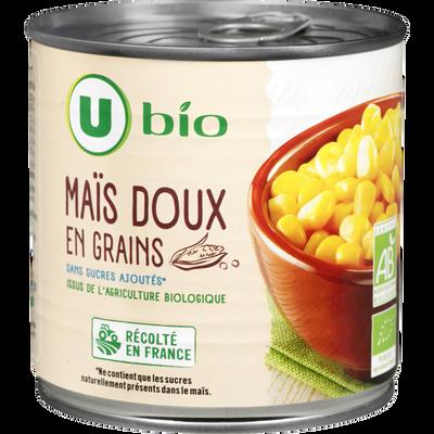 Maïs doux en grains U BIO, boîte de 1/2, 285g