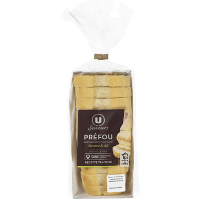 Mini préfou pain apéritif tranché beurre et ail Saveurs U, 150g