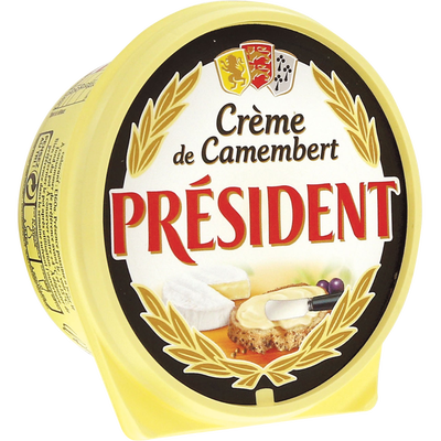 Fromage fondu Crème de camembert au lait pasteurisé PRESIDENT, 25%MG,150g