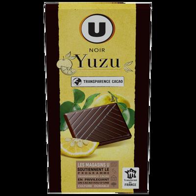 Chocolat noir yuzu U, tablette de 100g