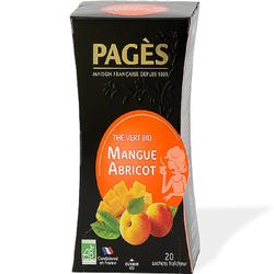Thé vert bio saveur Mangue Abricot, 20 sachets, Pagès