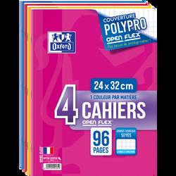 Cahier Openflex 24x32cm, 96 pages, agraphes, SEYES, 4 unités