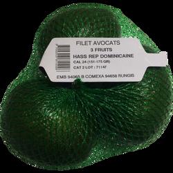 Avocat Hass, calibre 151/175g, République Dominicaine, filet 3 fruits