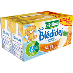 Lait et céréales saveur miel Bledidej BLEDINA, dès 6 mois, 4x250ml