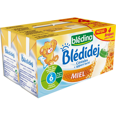 Lait et céréales saveur miel Bledidej BLEDINA, dès 6 mois, 4 briques de 250ml