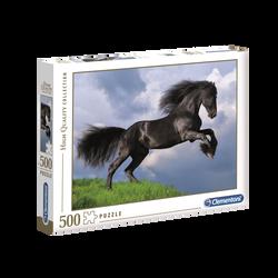 Puzzle 500 pièces high quality CLEMENTONI Fresian black horse
