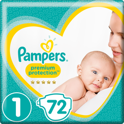 Couches new baby premium protect.PAMPERS 3-4kg value+ T1 x72