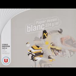 Papier à dessin U, 24X32cm, 224g/m2, pochette de 12 feuilles