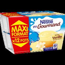 Nestlé P'tit Gourmand Crème Dessert À La Vanille , Dès 6 Mois, 12x100g