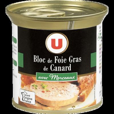 Bloc de foie gras de canard avec 30% morceaux U, boîte 200g