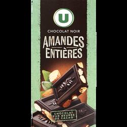 Tablette de chocolat noir aux amandes U, tablette de 200g