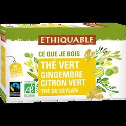 Thé vert gingembre citron vert Ceylan Bio ETHIQUABLE, 36g