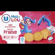 Monster Munch Mini Biscuits Fourrés Ronds Parfum Fraise U Mat & Lou, 4x6, 168g
