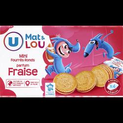 Mini biscuits fourrés ronds parfum fraise U MAT & LOU, 4x6, 168g