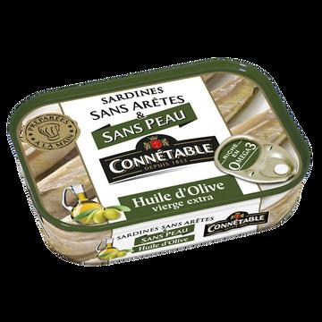 Connetable Sardines Sans Peau & Sans Arête Huile D'olive Vierge Extra Connetable,boîte De 140g