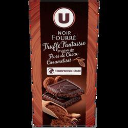 Tablette de chocolat noir fourré à la truffe fantaisie, éclats de fèves de cacao caramélisés U, 150g