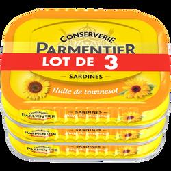 Sardines à l'huile de tournesol PARMENTIER 3x135g
