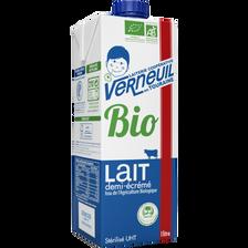 Lait UHT 1/2 écrémé bio square VERNEUIL, 6x1 litre