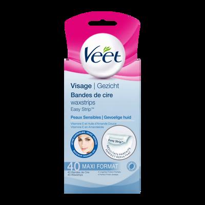 Cire froide spéciale visage pour peaux sensibles easy-gelwax VEET, 40bandes