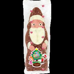 Moulage Père Noël en chocolat au lait décoré avec sapin CEMOI, 145g