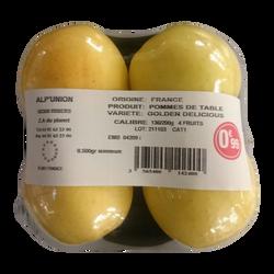 Pomme golden delicious, calibre 136/200, catégorie 1, France, barquette 4 fruits
