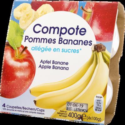 Compote de pomme et banane allégée, coupelles de 4x100g