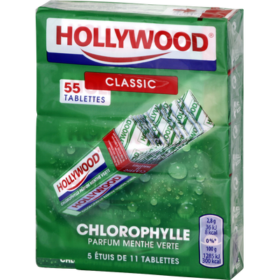 Chewing-gum chloro Régular HOLLYWOOD, 11 tablettes, 155g