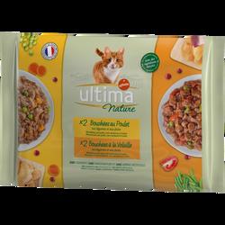Bouchées pour chat au poulet et à la volaille ULTIMA NATURE, 4X85g