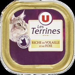 Les terrines pour chat riche en volaille et au foie U, barquette de 100g